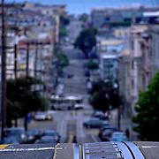 Trolley tracks on the hills of Mason Street, San Francisco, California
