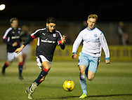Dundee&rsquo;s Faissal El Bakhtaoui runs at Forfar's Michael Kennedy - Forfar Athletic v Dundee, Martiy Fotheringham testimonial at Station Park, Forfar.Photo: David Young<br /> <br />  - &copy; David Young - www.davidyoungphoto.co.uk - email: davidyoungphoto@gmail.com