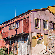 Valparaiso, February 2011.Colorful house with graffiti. Valparaiso is known by and full of artistic graffitis.