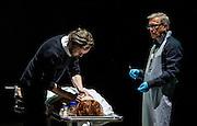 31/10/2012. London, UK. One of the international highlights of the Barbican Theatre's 2012 programme, Poland's TR Warszawa return to the Barbican on Halloween with Grzegorz Jarzyna's production of Nosferatu. Picture shows Sandra Korzeniak (Lucy), Jan Englert (Doctor John Seward), and Adam Woronowicz (Arthur Holmwood).
