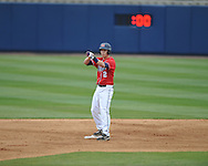 Ole Miss' Alex Yarbrough (2) hits a double vs. Houston at Oxford-University Stadium in Oxford, Miss. on Sunday, March 11, 2012. Ole Miss won 11-3 to sweep the three-game series.