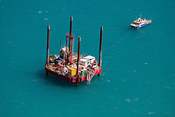 A jack-up rig at James Price Point, north of Broome.