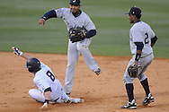 Ole Miss' Austin Anderson (8) is forced at second on a double play by Jackson State's Frank Solis (9) at Oxford-University Stadium in Oxford, Miss. on Tuesday, March 15, 2011.