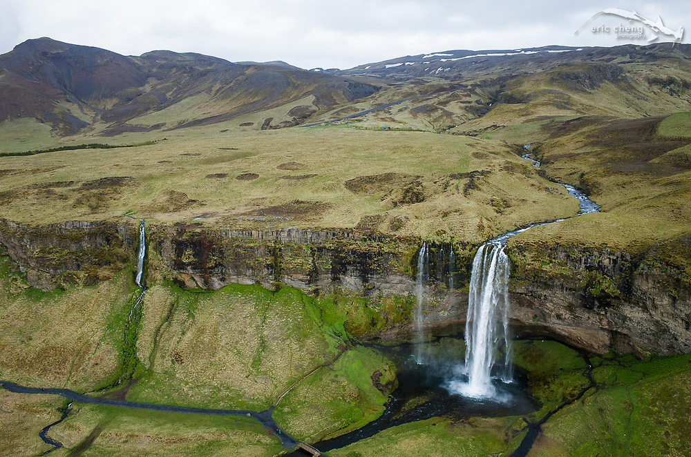 Seljalandsfoss waterfall in South Iceland. Aerial shot taken with DJI Phantom 2 quadcopter and Ricoh GR camera.