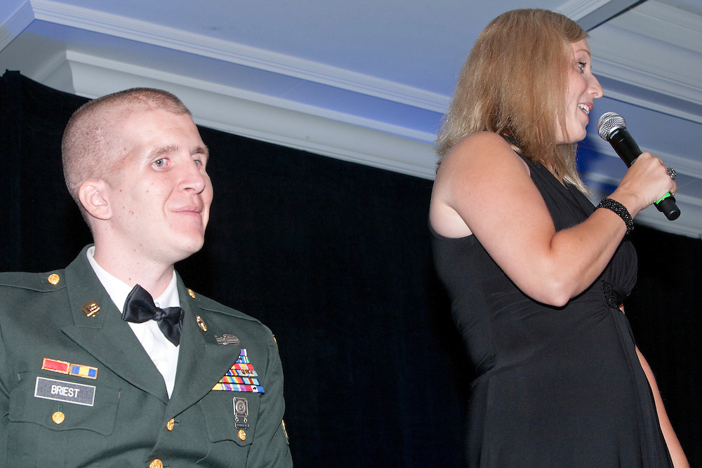 America's bravest family Corey and Jennifer Briest share a few words with the audience.