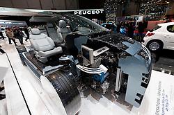 Cut away model of Peugeot 308 with new super efficient engine at Geneva Motor Show 2011 Switzerland