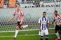 EINDHOVEN - PSV - SC Heerenveen , Eredivisie , voetbal , Philips stadion , seizoen 2014/2015 , 18-04-2015 , PSV speler Luuk de Jong scoort de 2-0 en viert dit