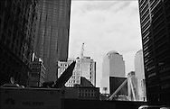 In the aftermath of the September 11th 2001 terrorist attack on the World Trade Centre buildings by AL-Qaeda terrorists the once iconic skyline view of lower Manhattan was dramatically changed, a large gaping hole exists where the Twin Towers once stood. New York, America.