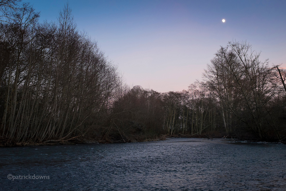 Dungeness River at deep dusk