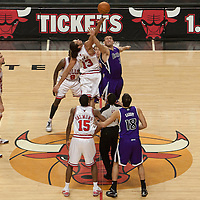 21 December 2009: Tip off between Chicago Bulls center Joakim Noah and Sacramento Kings center Spencer Hawes during the Sacramento Kings 102-98 victory over the Chicago Bulls at the United Center, in Chicago, Illinois, USA.