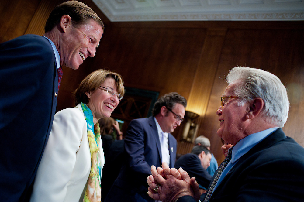 """Actor MARTIN SHEEN speaks with Senators RICHARD BLUMENTHAL (D-CT) and AMY KLOBUCHAR (D-MN) following a Senate Judiciary Committee hearing """"Drug and Veterans Treatment Courts: Seeking Cost-Effective Solutions for Protecting Public Safety and Reducing Recidivism."""""""