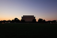 The back of the Linconln Memorial on Lincoln Memorial Circle at the National Mall in Washington, DC is silhouetted against the eastern sky a few minutes before sunrise. WATERMARKS WILL NOT APPEAR ON PRINTS OR LICENSED IMAGES.