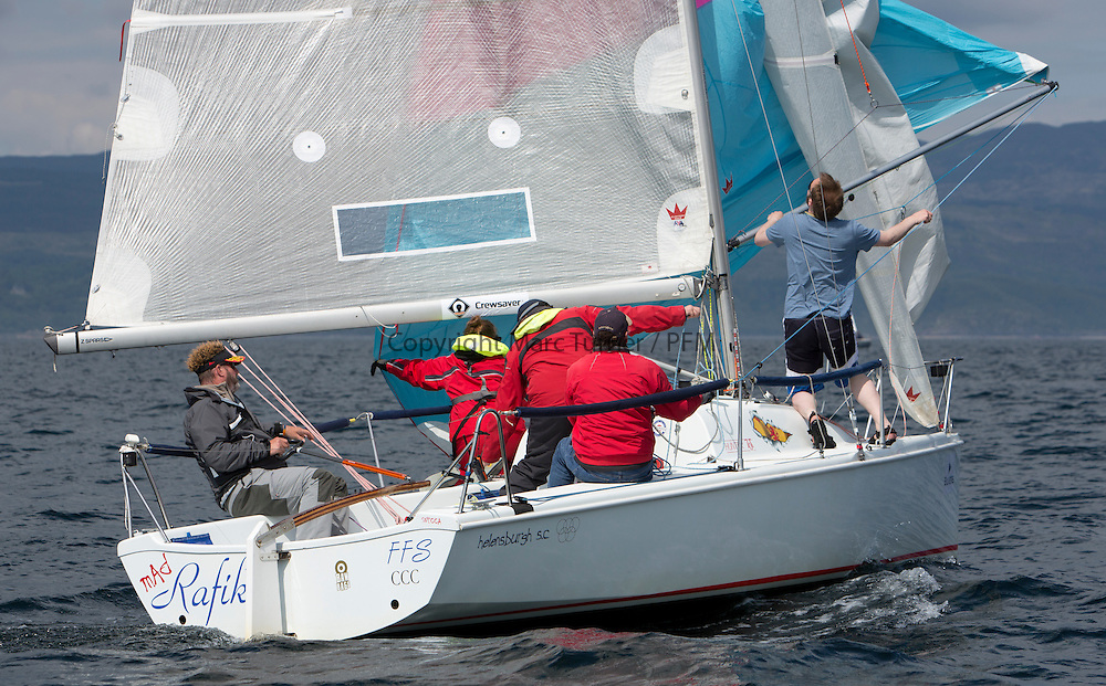 Day three of the Silvers Marine Scottish Series 2016, the largest sailing event in Scotland organised by the  Clyde Cruising Club<br /> Racing on Loch Fyne from 27th-30th May 2016<br /> <br /> GBR7012N, Mad Rafiki, Mark Homer, HSC/CCC, Hunter 707<br /> <br /> <br /> Credit : Marc Turner / CCC<br /> For further information contact<br /> Iain Hurrel<br /> Mobile : 07766 116451<br /> Email : info@marine.blast.com<br /> <br /> For a full list of Silvers Marine Scottish Series sponsors visit http://www.clyde.org/scottish-series/sponsors/