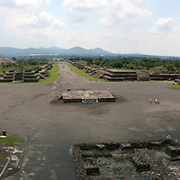 A good hour away from Mexico City is located Teotihuacan, or The City of Gods, how the Aztecs called this place. The rich legacy of Aztecs is visible in numerous pyramids and well kept murals. On the photograph we are on the Pyramid of the Moon, looking toward the Pyramid of the Sun, and the road between them is called the Avenue of Death.