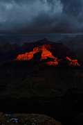Sunrise on a Stormy Day at The Grand Canyon National Park - South Rim.  Fine Art Pront for sale or licensed use.