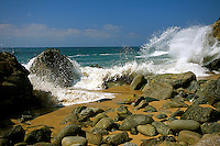View of a beautiful pristine rocky beach in  San  Pancho Mexico.