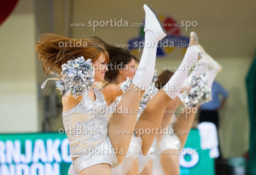 Cheerleaders Ladies perform during basketball match between National teams of Slovenia and Spain in Qualifying Round of U20 Men European Championship Slovenia 2012, on July 18, 2012 in Domzale, Slovenia. Slovenia defeated Spain 70-63. (Photo by Vid Ponikvar / Sportida.com)