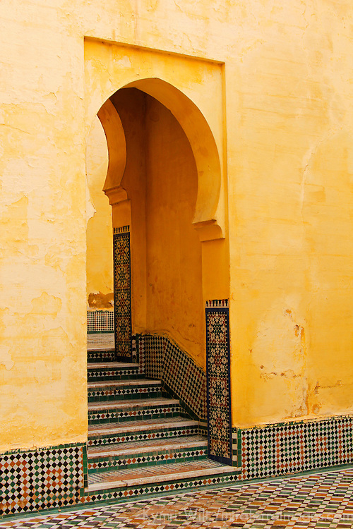 Africa, Morocco, Meknes. Mausoleum of Moulay Ismail stairs.
