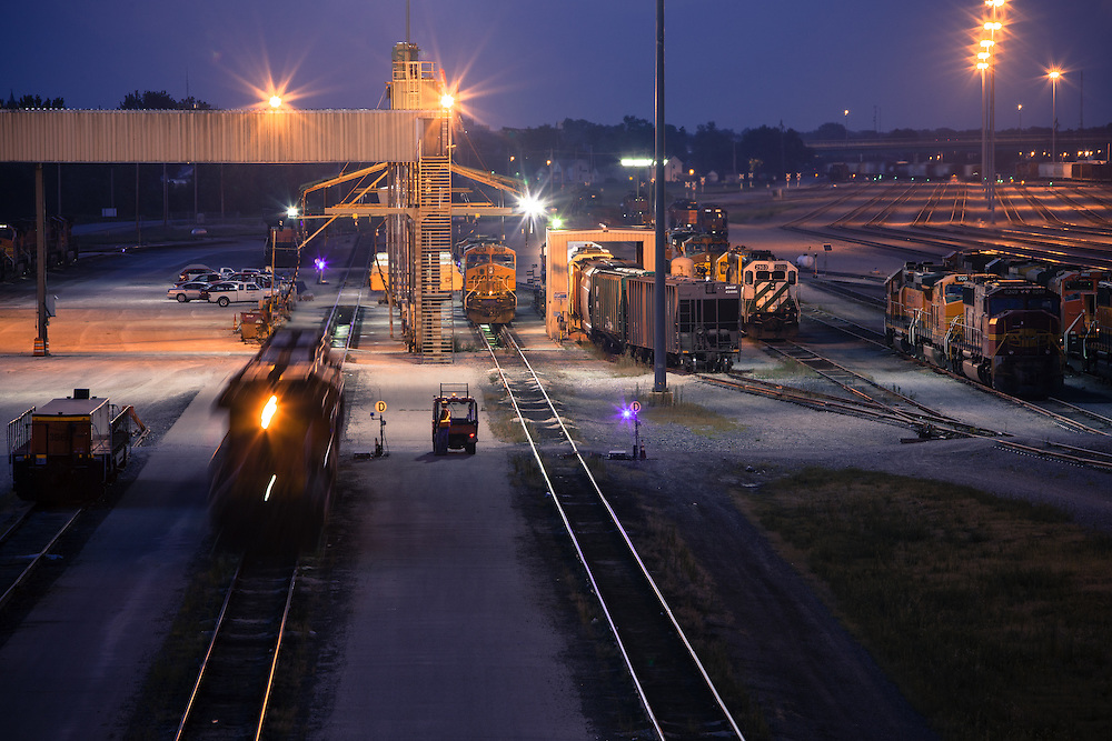 The BNSF's diesel shop in Galesburg, IL is buzzing with activity late at night as locomotives are hustled to waiting trains.