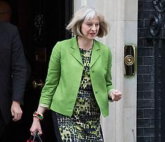 JUL 08 2014 Theresa May leaves No10 after cabinet meeting