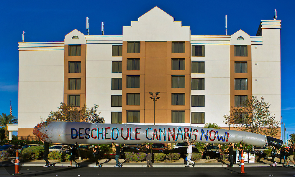 A huge, inflatable joint is carried along Paradise Ave. by the a group working on a national initiative to de-schedule cannabis as the 2016 Presidential Debate takes place nearby on campus at UNLV on Wednesday, Oct. 19, 2016.  w