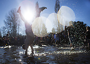 A man does a handstand, kicking up a gleaming spray of water, as he participates in the 14th annual Polar Bear Plunge at Matthews Beach Park in Seattle on New Year's Day, Friday, Jan. 1, 2016. Hundreds of participants took the plunge into an estimated 48-degree Lake Washington, while air temperatures hovered at about 40 degrees during the noontime event. (Lindsey Wasson / The Seattle Times)