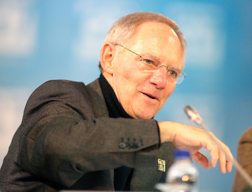 German Finance Minister Wolfgang Schauble speaks at the final press conference for the G7 Finance Ministers Meeting in Iqaluit, Canada, February 6, 2010.<br /> AFP/GEOFF ROBINS/STR