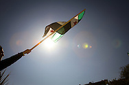A man waving the old Syrian flag at an anti-government demonstration in the town of Al Janoudiyah, Syria.