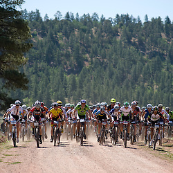 Racers start on the dirt road during the USA Cycling 24-Hour Mountain Bike National Championships/ 24 Hours in the Enchanted Forest.
