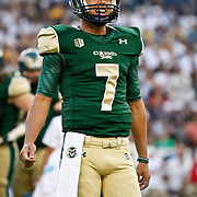 SHOT 9/19/15 6:04:33 PM - Colorado State's Nick Stevens #7 flashes a smile after a completion during the Rocky Mountain Showdown against Colorado at Sports Authority Field at Mile High in Denver, Co. Colorado won the game 27-24 in overtime. (Photo by Marc Piscotty / © 2015)
