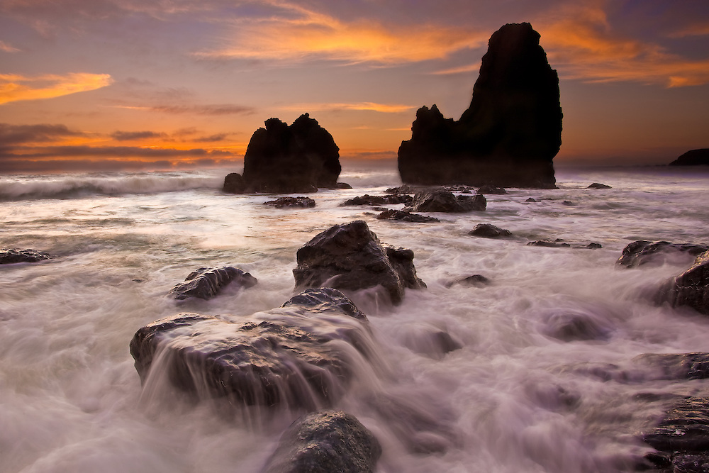 long exposure capture of sunset at rodeo beach in fort baker, sausalito california.