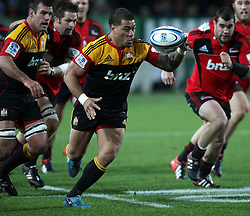 Chiefs' Mahonri Schwalger in action against the Crusaders in a Super Rugby match, Waikato Stadium, Hamilton, New Zealand, Friday, July 06, 2012.  Credit:SNPA / David Rowland