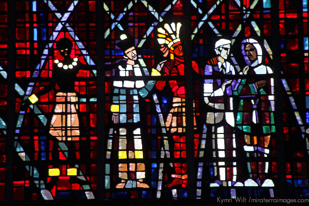 Africa, Morocco, Casablanca. Notre Dame de Lourdes stained glass windows.