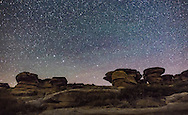 The Big Dipper above the sandstone formations at Writing-on-Stone Provincial Park, in southern Alberta. I shot this July 31, 2016 on a dark moonless night, with starlight only lighting the foreground. Some green airglow discolours the sky.<br /> <br /> This is a stack of four images for the ground (to smooth noise) and a single image for the sky (to minimize trailing). All are 45 seconds at f/2.8 with the Sigma 20mm Art lens and Nikon D750 at ISO 4000. All untracked.