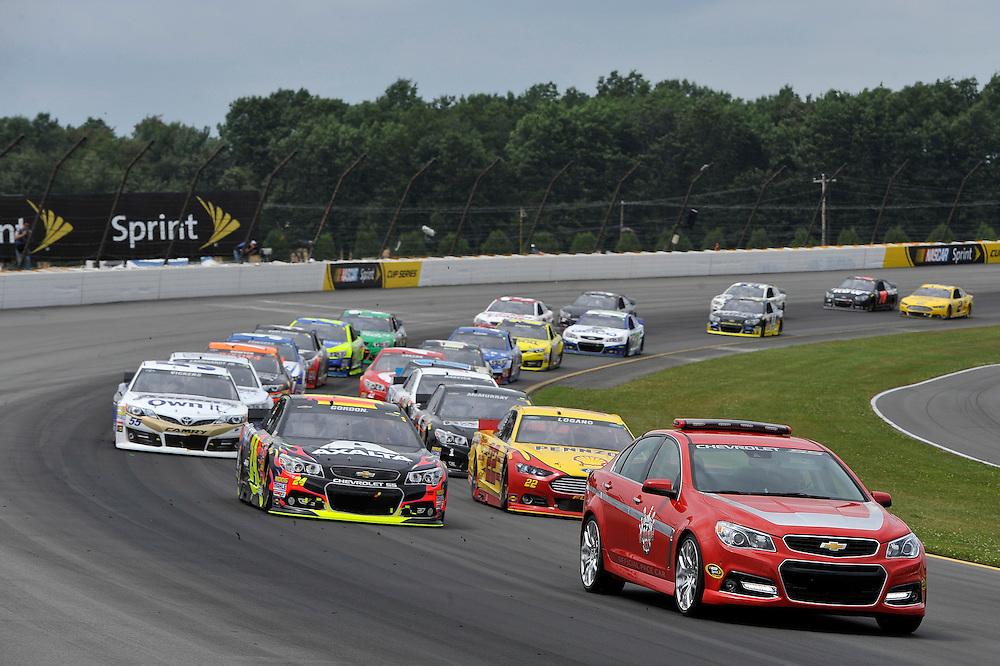1-3 August, 2014, Long Pond, Pennsylvania USA<br /> Caution car leads Jeff Gordon, Joey Logano, Brian Vickers to restart<br /> &copy;2014, Scott R LePage <br /> LAT Photo USA