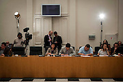 Journalists at a press conference at Zappeio, Athens, Greece. Image © Angelos Giotopoulos/Falcon Photo Agency