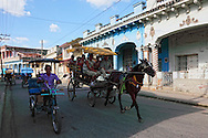 Traffic in Guines, Mayabeque Province, Cuba.