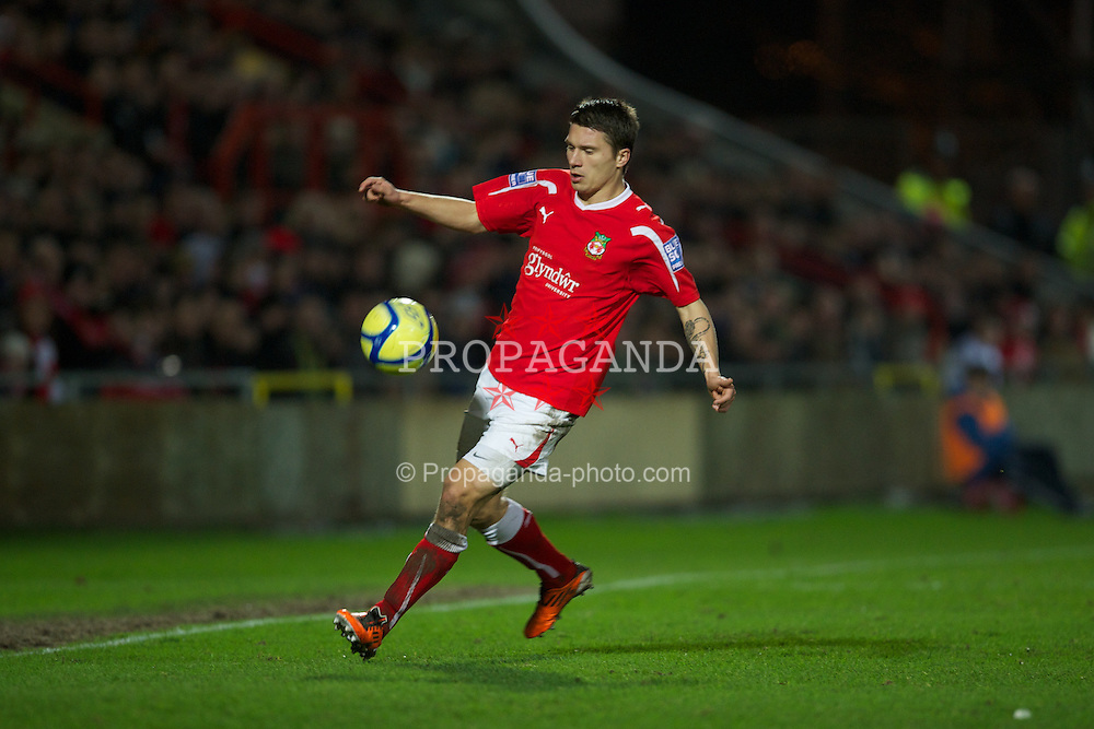 WREXHAM, WALES - Wednesday, january 18, 2012: Wrexham's Adrian Cieslewicz in action against Brighton & Hove Albion during the FA Cup 3rd Round Replay match at the Racecourse Ground. (Pic by David Rawcliffe/Propaganda)