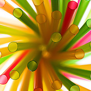Abstract colored drinking straws