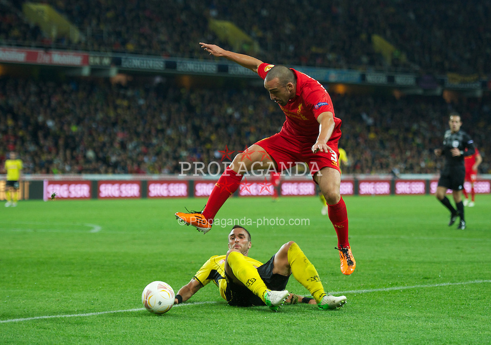 BERNE, SWITZERLAND - Thursday, September 20, 2012: Liverpool's Jose Enrique in action against BSC Young Boys during the UEFA Europa League Group A match at the Wankdorf Stadion. (Pic by David Rawcliffe/Propaganda)
