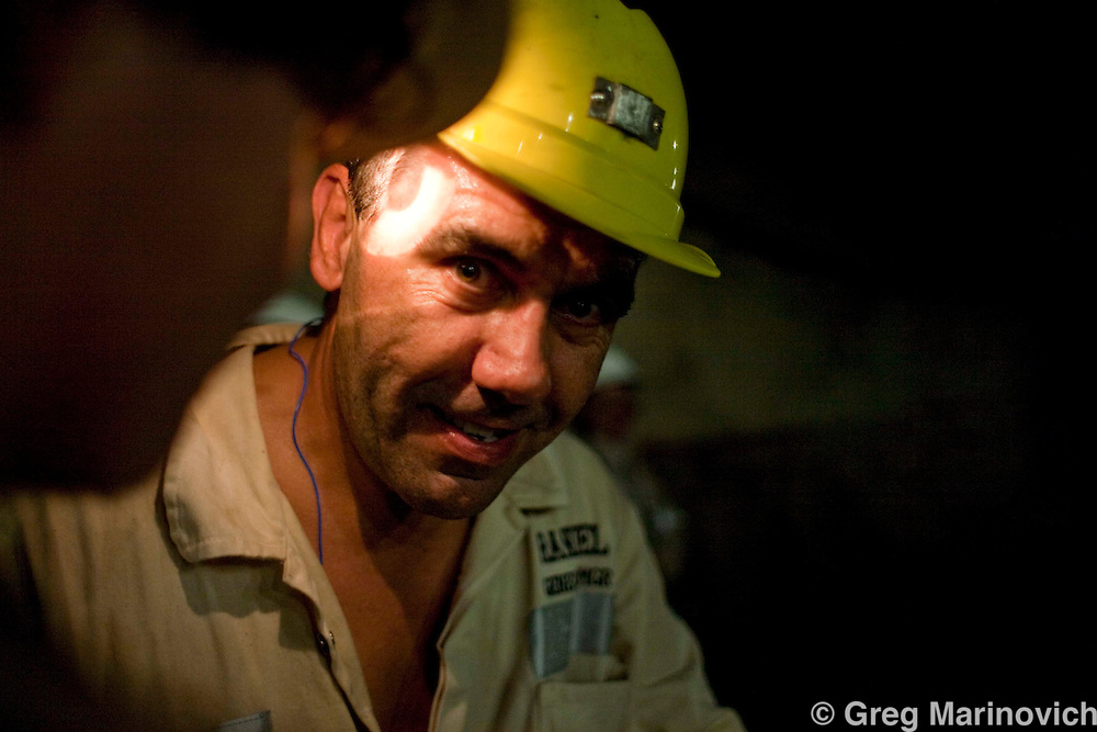 General Manager Randel Rademann discusses how AngloGoldAshanti broke the record and reached deeper into the earth than any other mine previously, with the Mponeng gold mine descending to 3778 meters below the surface Feb 3, 2009. Photo Greg Marinovich