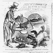 """Civil War Anti corruption cartoon: """"Uncle Sam giving his favorite Bull-Terrier Charlie Van Wyck a Field-Day with the Contractors"""" Harper's Weekley March 1, 1862"""
