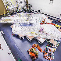 The 5th Layer of the JWST Sushield is installed at Northrop Grumman in M2 on August 22, 2013