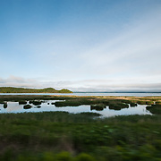View of the Nemuro peninsula from a train in southeastern Hokkaido, Japan.