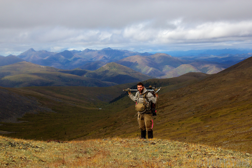 Prospecting for gold in the remote mountains of the Yukon Territory, Canada