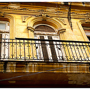 Yellow building with balcony, Havana, Cuba.