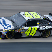 Jimmie Johnson #48 of the Lowe's/Kobalt Tools team rounds turn three during Sprint Cup Series Sunday, Oct. 02, 2011 at Dover International Speedway in Dover Delaware.
