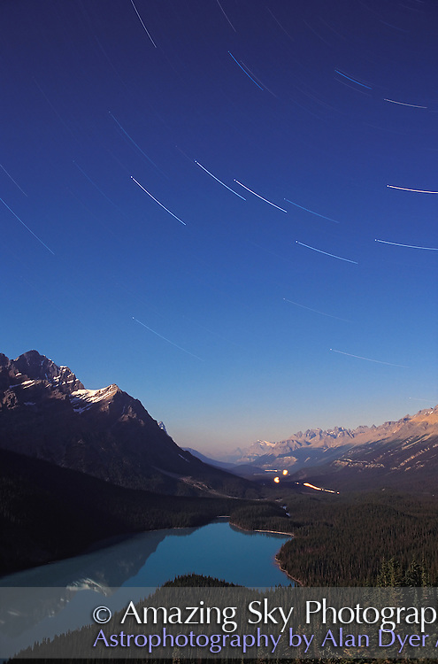 The Big Dipper in a long exposure, trailing over Peyto Lake, Banff, Alberta in a film shot from the 1990s. A single long exposure about 20 minutes on slow Fuji Velvia film.