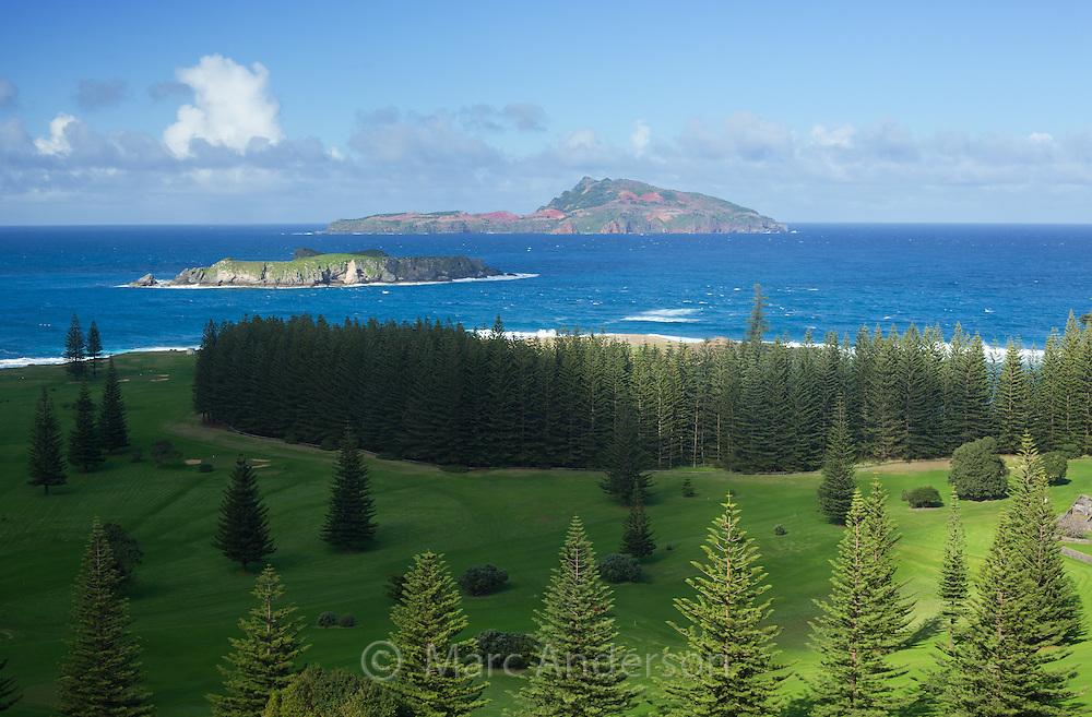View of Philip Island and Nepean Island, Kingston, Norfolk Island, Australia