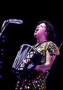Regine Chassagne of Arcade Fire performs live on stage at O2 Arena on December 1, 2010 in London, England.  (Photo by Simone Joyner)